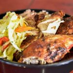 Baked Chicken with Rice & Peas with Steam veg